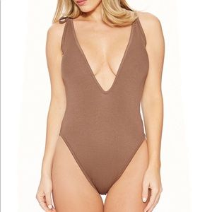 naked wardrobe Deep V Shoulder-Tie Bodysuit